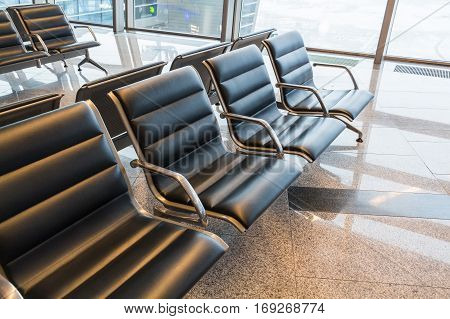 Photograph of a brand new departure lounge at airport
