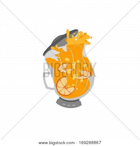 Kitchen appliance isolated on white. Electric juice blender. Home food processor juicer machine. Freehand drawn cute cartoon vector of household blending device. Orange drink kitchenware with splashes