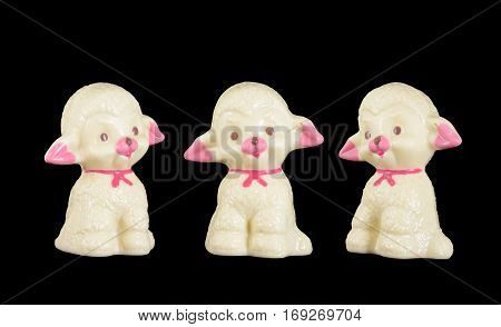 isolated chocolate lamb with clipping path in three view