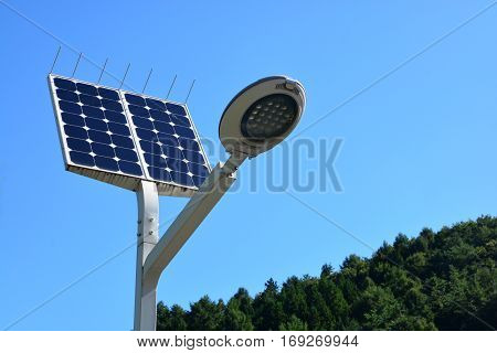 Ecological street lamp with photovoltaic panels or Solar Power