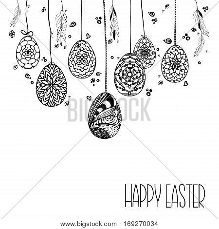 Decorative Card With Hanging Easter Hand Drawn Ornamental Eggs And Floral Elements Black On White Ba