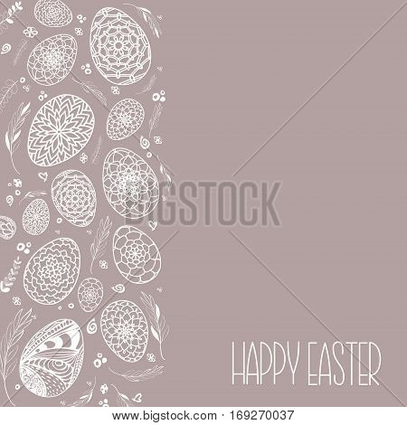 Decorative Easter Eggs Background With Hand Drawn Ornamental Doodle Style Eggs And Floral Elements.