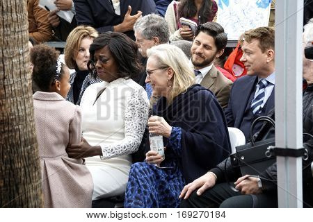 LOS ANGELES - JAN 5:  Genesis Tennon, Viola Davis, Meryl Streep at the Viola Davis Star Ceremony at Hollywood Walk of Fame on January 5, 2017 in Los Angeles, CA