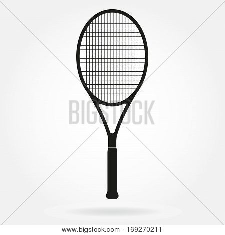 Tennis racket. Vector icon of tennis racket in flat style.