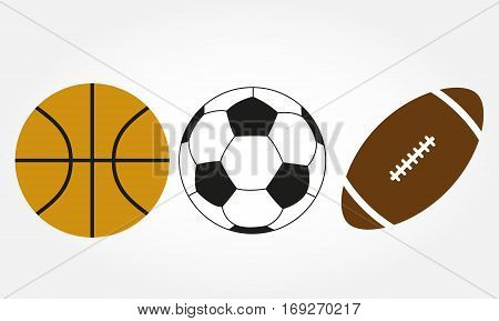 Ball set. Football, soccer, basketball and rugby ball icons isolated on white background. Vector illustration.