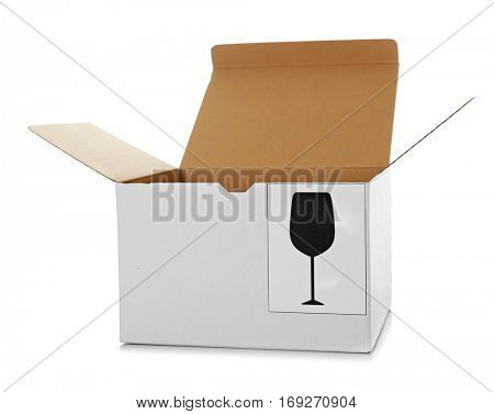 Opened carton box isolated on white