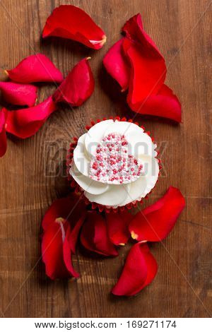 Valentine's Day Cupcake And Rose Petals
