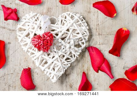 Wicker Hearts And Red Rose Petals