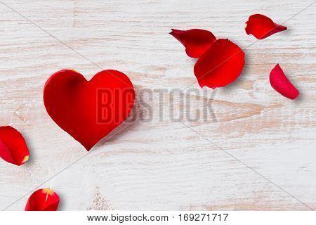 Heart-shaped Flower Petal And Rose Petals