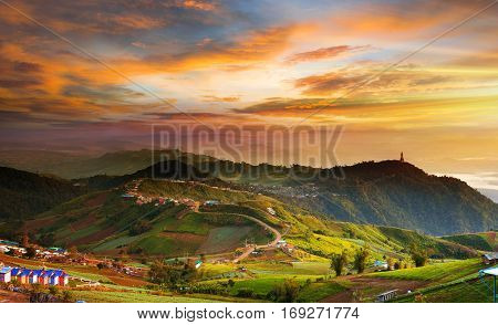 Amazing mountain landscape with beautiful sunset sky in thailand
