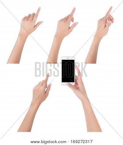 Woman hands holding smart phone with blank screen display and collection of different index finger touching or pointing to something digital and communication concept Isolated on white background.