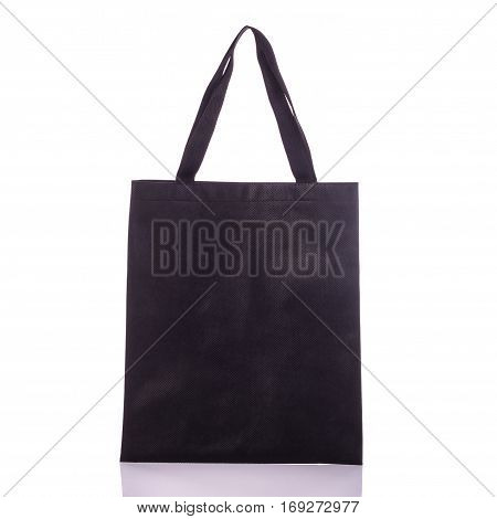 Black Cotton Bag. Studio Shot Isolated On White