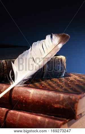 Vintage still life. Quill pen on old book against dark background