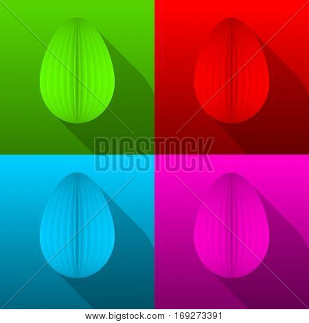 Happy easter vector illustration with colorful eggs.