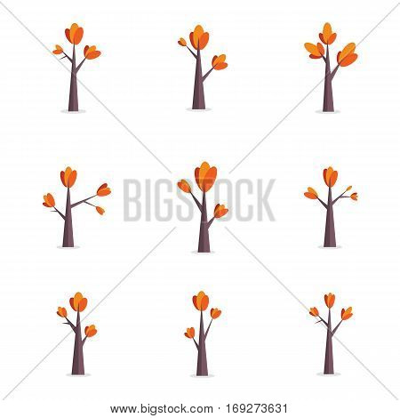 Vector flat of tree object set collection stock