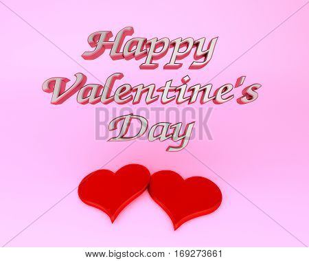 happy valentine's day red hearts pink background 3D illustration