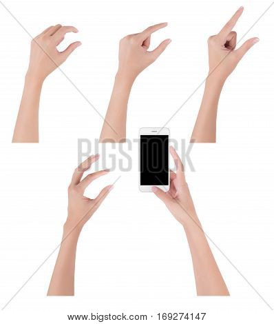 Woman hands holding smart phone with blank screen display and collection of different touch and pinch fingers for zooming something digital and communication concept Isolated on white background.