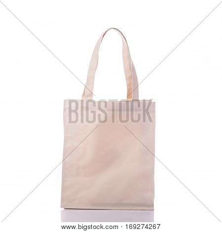White Cotton Bag. Studio Shot Isolated On White