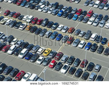 Melbourne, Australia - January 31, 2017: Aerial view of a full car park