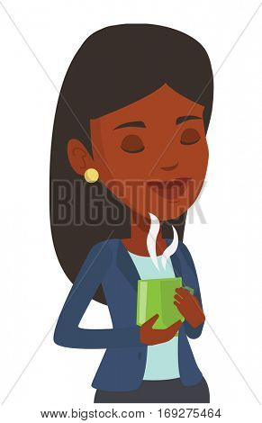 African-american woman drinking hot flavored coffee. Woman holding cup of coffee with steam. Woman with his eyes closed enjoying coffee. Vector flat design illustration isolated on white background.