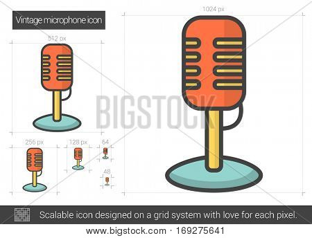 Vintage microphone vector line icon isolated on white background. Vintage microphone line icon for infographic, website or app. Scalable icon designed on a grid system.