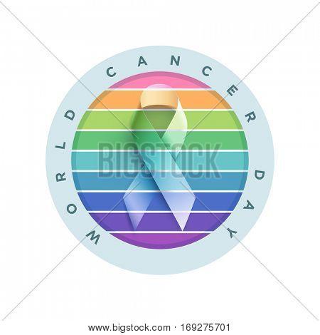 World Cancer Day. Vector awareness ribbon illustration.