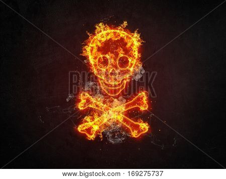 Dramatic fiery orange skull and crossbones engulfed in flames over a dark background with twinkling sparks and copy space