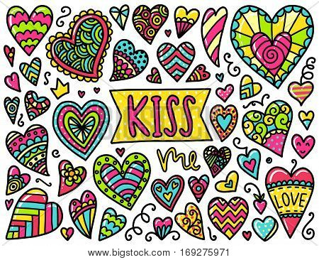 Doodles cute elements. Color vector items. Illustration with hearts and decorative elements. Design for prints and cards. Valentines day theme.
