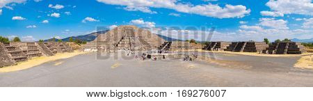 High resolution panoramic view of the Pyramid of the Moon and the Plaza of the Moon at Teotihuacan in Mexico