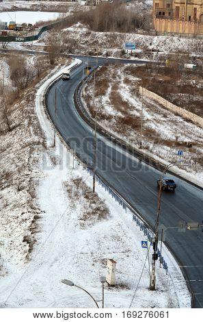 Aerial view.Ukrainian countryside at winter.Road. January 1,2017. Near Kiev, Ukraine