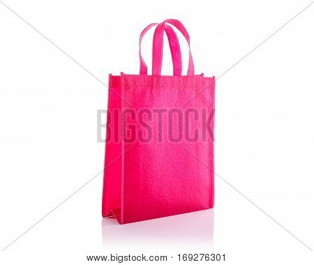 Pink Cotton Bag. Studio Shot Isolated On White