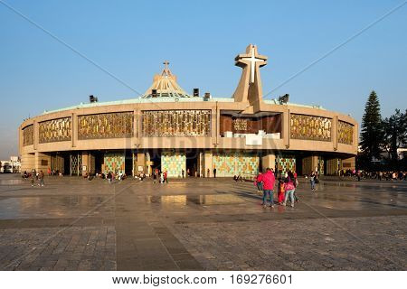 MEXICO CITY,MEXICO - DECEMBER 26,2016 : People arriving for an early morning mass at the Basilica of Our Lady of Guadalupe in Mexico City