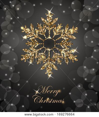 Shining Christmas Background With Shining Gold Snowflake.christmas And New Year Background With Snow