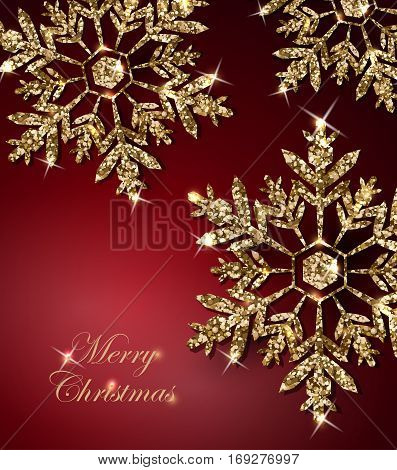 Shining Christmas Background with Shining Gold Snowflakes.Christmas and New Year background with snowflakes. Merry Christmas card. Template Vector.