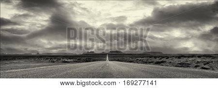 Dramatic Image Of the Famous Road to Monument valley
