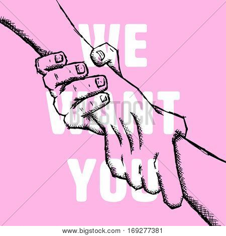 We want you against pink background