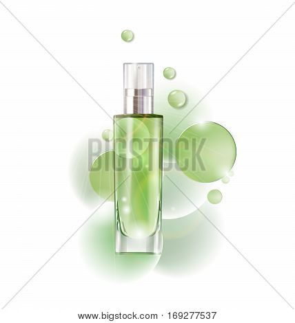 Cosmetic product, lotion, vegetable oil, natural cosmetics. Beautiful bottle with with drops .Beauty and cosmetics background. Use for advertising flyer, banner, leaflet.Template Vector.