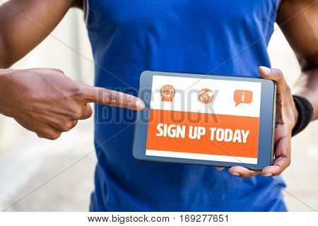 Orange sign up today against man pointing at blank screen of digital tablet