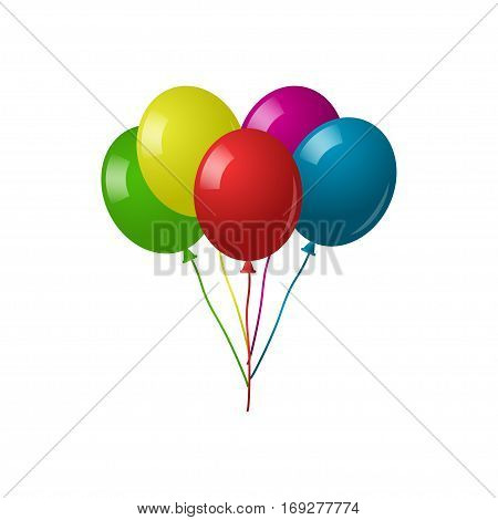 Color glossy balloons isolated on white background. Collection of colorful balloons
