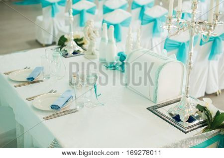Serving Wedding Table. Covered With A Festive Round Table