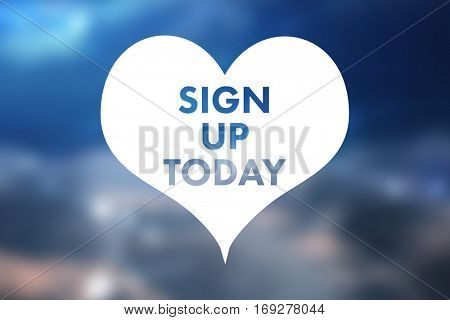 Heart sign up today against lines against glowing sky