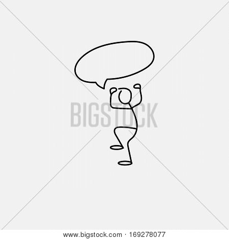 Cartoon icon of sketch stick figure angry vector