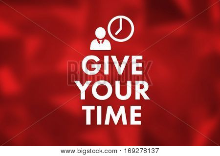 give your time against red abstract design