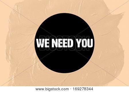 We need you in black circle against orange background