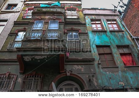Colorful old, dilapidated multistory buildings in an Istanbul, Turkey neighborhood