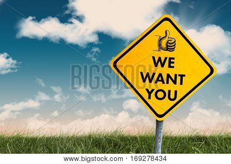 We want you against green field under blue sky