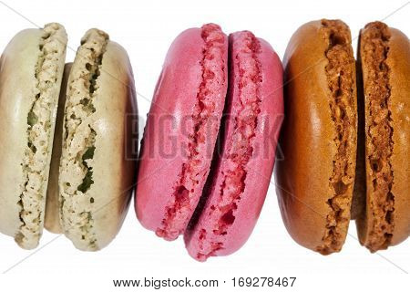 Colorful cookies of macaroon isolated on white background.