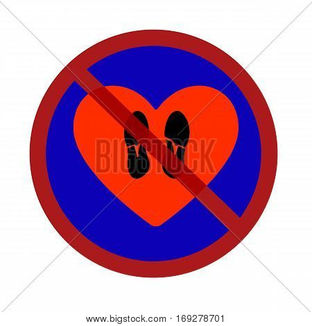 Vector illustration of a traffic sign prohibiting trample shoes heart flat style.