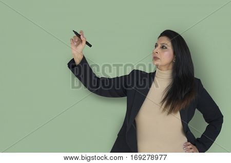 Businesswoman Concentrating Presenting Seminar