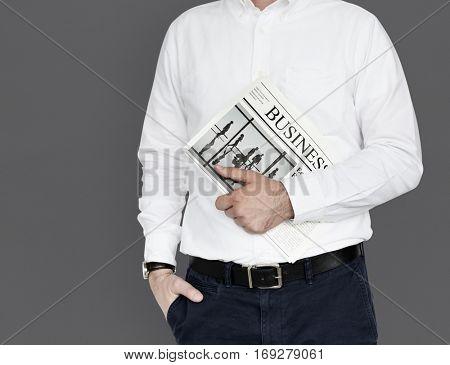 Men Hands Hold Business Newspaper Studio